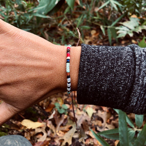 """White Bear"" Fiber Threads with Merino Wool Wanderlust Bracelet"