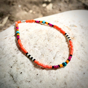 """Summer Glow"" Turquoise, Seed Bead Spirit Bracelet or Anklet"