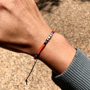 """Red Fox"" Cotton, Merino Wool, and Irish Waxed Linen Cord Wanderlust Bracelet"