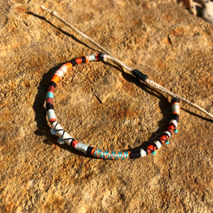 """Wandering Bear"" Cotton with Ethiopian Opal, Turquoise, and Pearl Wanderlust Bracelet"
