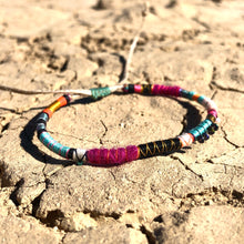 "Load image into Gallery viewer, ""Journey of the Sun"" Fiber Threads with Turquoise, Pearl, and Opal Stone Wanderlust Bracelet"