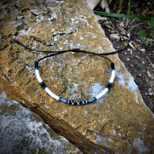 "Load image into Gallery viewer, ""White Wolf"" Merino Wool, Cotton, and Irish Waxed Linen Cord Wanderlust Bracelet"