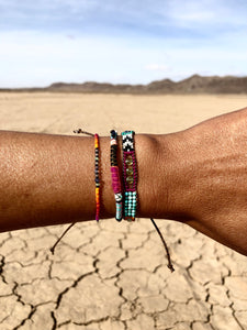"""Journey of the Sun"" Fiber Threads with Turquoise, Pearl, and Opal Stone Wanderlust Bracelet"