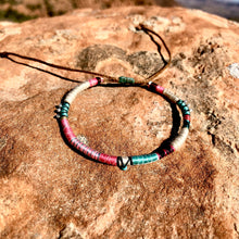 "Load image into Gallery viewer, ""Life"" Fiber Threads with Turquoise and Pearl Stone Wanderlust Bracelet"