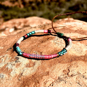 """Life"" Fiber Threads with Turquoise and Pearl Stone Wanderlust Bracelet"