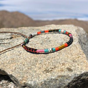 """Into the Fire"" Fiber Threads with Merino Wool Wanderlust Bracelet"
