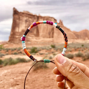 """Arches"" Fiber Threads with Herkimer Diamond, Turquoise, Opal Stone Wanderlust Bracelet"