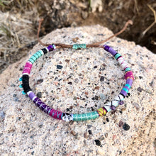 "Load image into Gallery viewer, ""Wild Lullaby"" Fiber Threads with Herkimer diamond, Amethyst, and Turquoise Stone Wanderlust Bracelet"