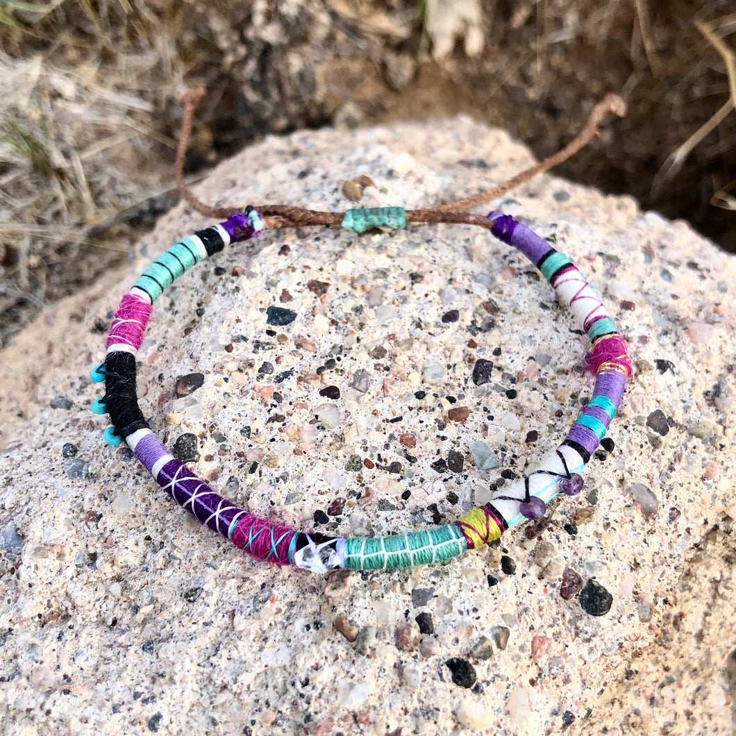 """Wild Lullaby"" Fiber Threads with Herkimer diamond, Amethyst, and Turquoise Stone Wanderlust Bracelet"