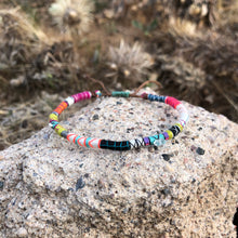 "Load image into Gallery viewer, ""The Hunter"" Fiber Threads with Herkimer Diamond, Pearl, Malachite Stones Wanderlust Bracelet"