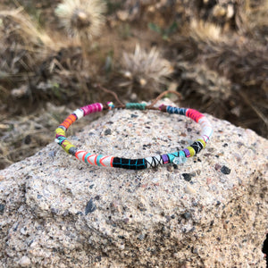"""The Hunter"" Fiber Threads with Herkimer Diamond, Pearl, Malachite Stones Wanderlust Bracelet"