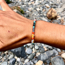 "Load image into Gallery viewer, ""Ignite"" Cotton with Amethyst, Ethiopian Opal, Turquoise, Labradorite, and Seed Bead Wanderlust Bracelet"