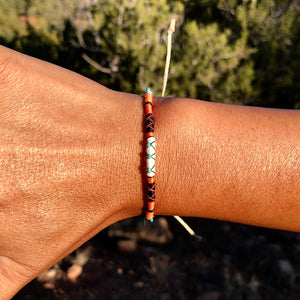 """Singing Coyote"" Cotton, Merino Wool, with Turquoise Wanderlust Bracelet"