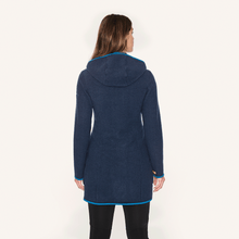 Laden Sie das Bild in den Galerie-Viewer, NOORA  Wollfleece Langjacke - Zip in Innenjacke navy/nautic von finside