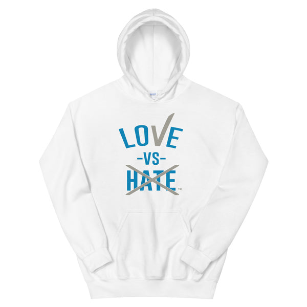 Love Vs Hate Blue/Grey Unisex Hoodie