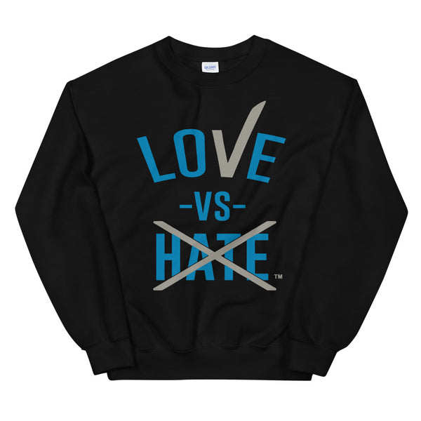 Love Vs Hate Blue & Grey Unisex Sweatshirt