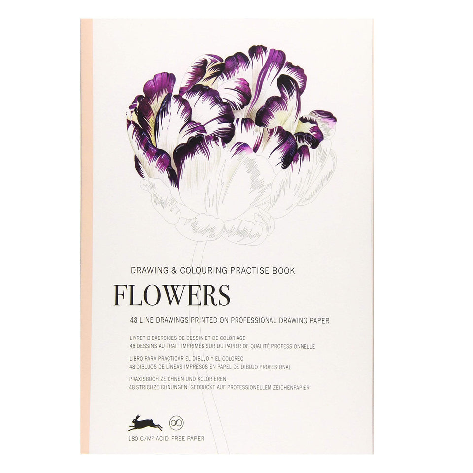 Pepin Press Book Drawing & Colouring Practise Book - Flowers