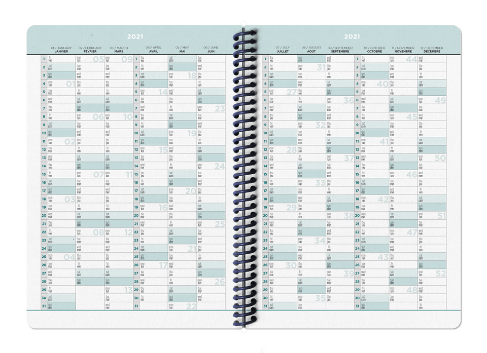 Papier Tigre Bullet journal e agende Agenda 2021 Rose Grid