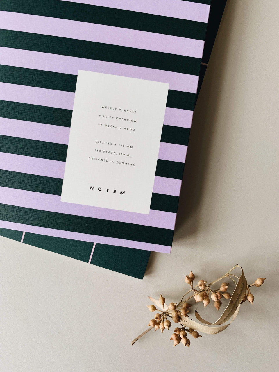 Notem Planner Uma Weekly Planner Green&Rose Stripes