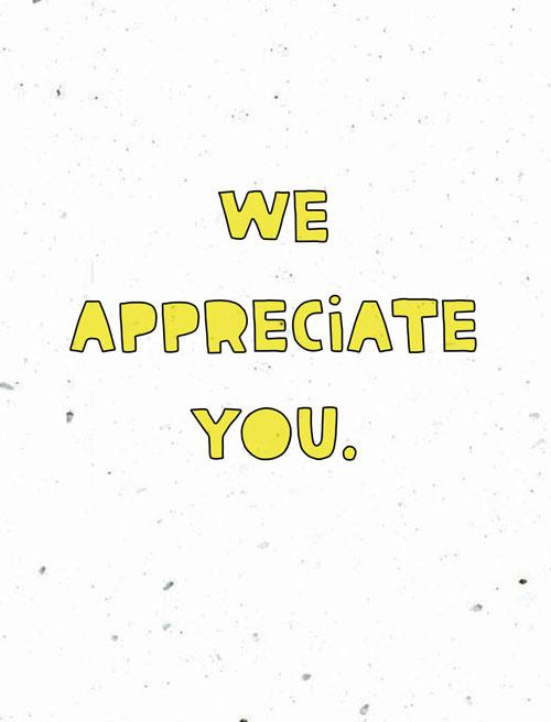 We Appreciate You Handwritten Card