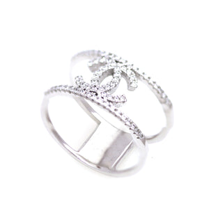 Sterling Silver Double Band CC Ring with Cubic Zirconia Stones