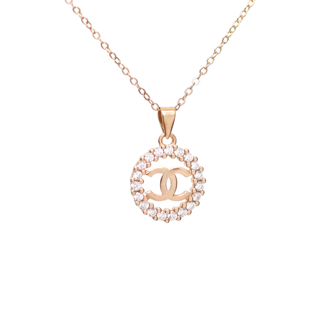 Stunning Cubic Zirconia Rose Gold CC Necklace