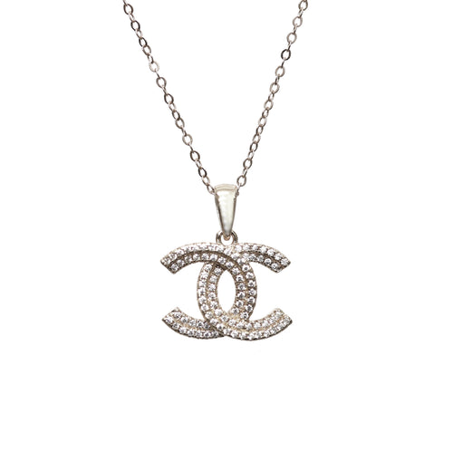 Stunning Silver CC Necklace with Cubic Zirconia