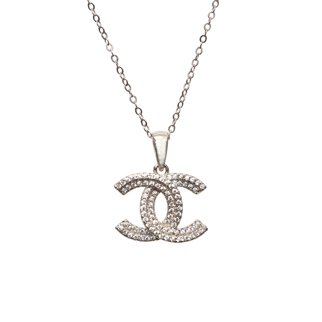 Stunning Sterling Silver CC Necklace with Cubic Zirconia