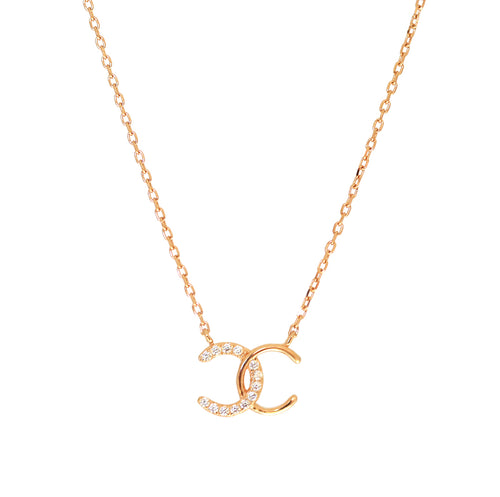 Rose Gold CC Necklace with Cubic Zirconia