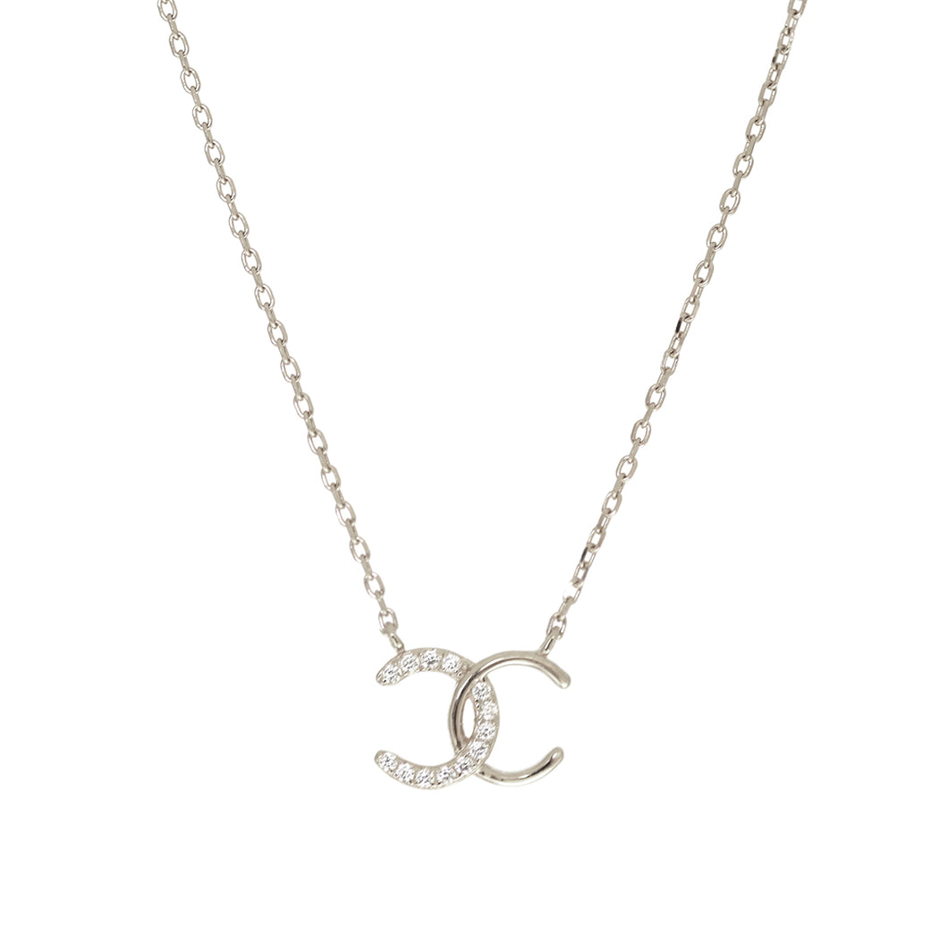 Sterling Silver CC Necklace with Cubic Zirconia