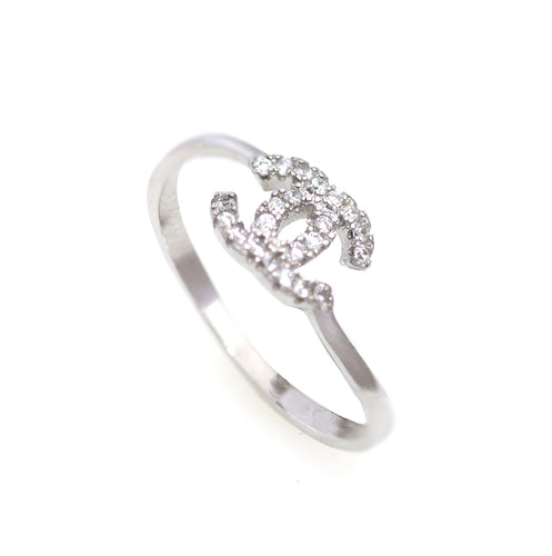 Sterling Silver CC Ring with Cubic Zirconia Stones