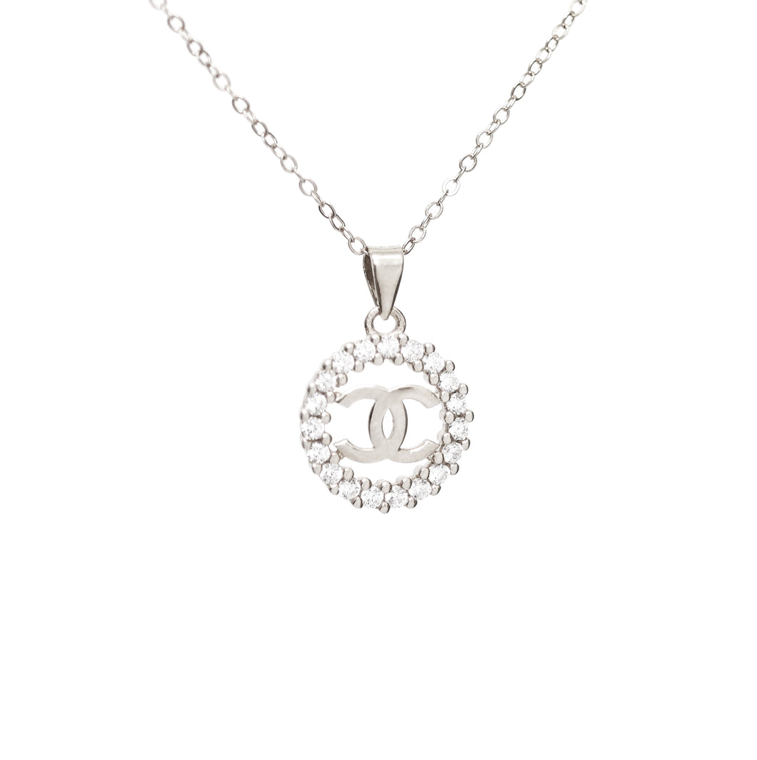 Stunning Cubic Zirconia Silver CC Necklace