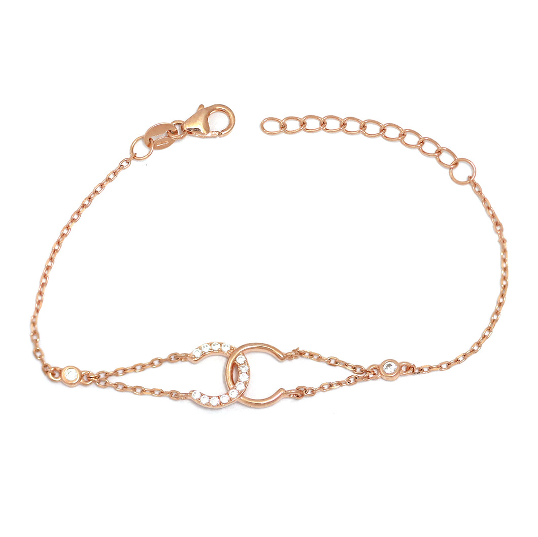Rose Gold CC Bracelet with Cubic Zirconia