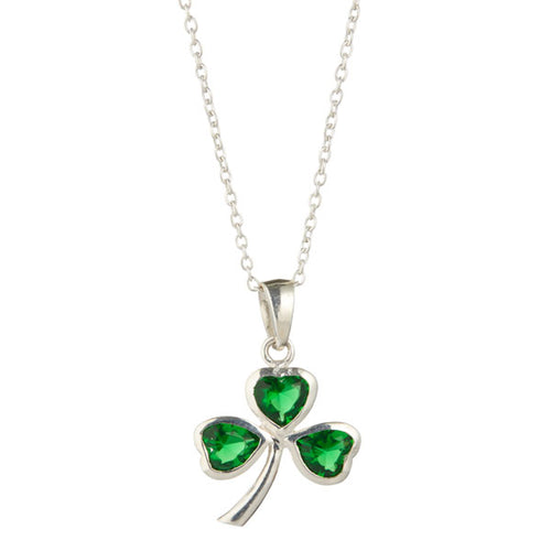 Irish Celtic Emerald Shamrock Pendant