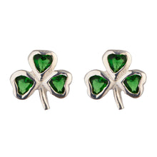 Load image into Gallery viewer, Irish Celtic Shamrock Earrings with Emerald Stones