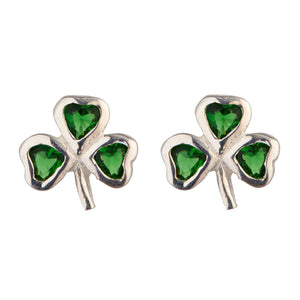 Irish Celtic Shamrock Earrings with Emerald Stones