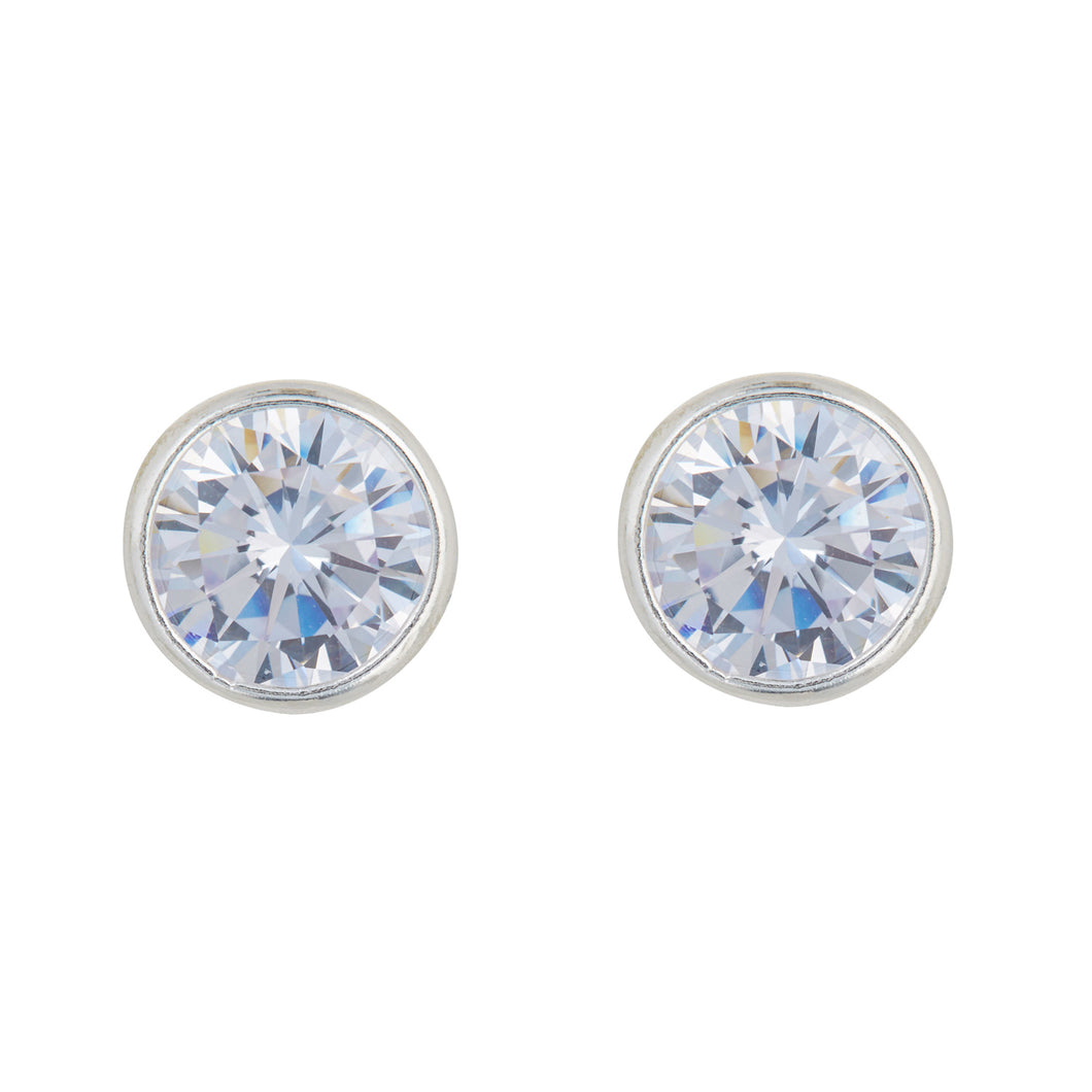Silver Clear Stone Stud Earrings