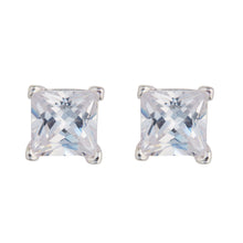 Load image into Gallery viewer, Sterling Silver 6mm Cubic Zirconia Square Stud Earrings