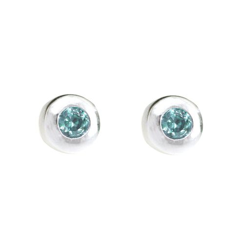 Sterling Silver Stud Earring with Aqua Stone