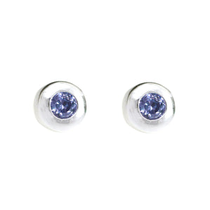 Sterling Silver Stud Earring with Blue Stone