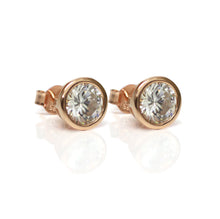 Load image into Gallery viewer, Rose Gold Diamante Stud Earrings 9mm