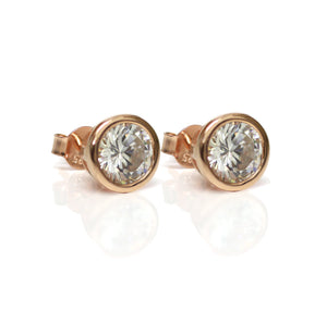 Rose Gold Diamante Stud Earrings 9mm