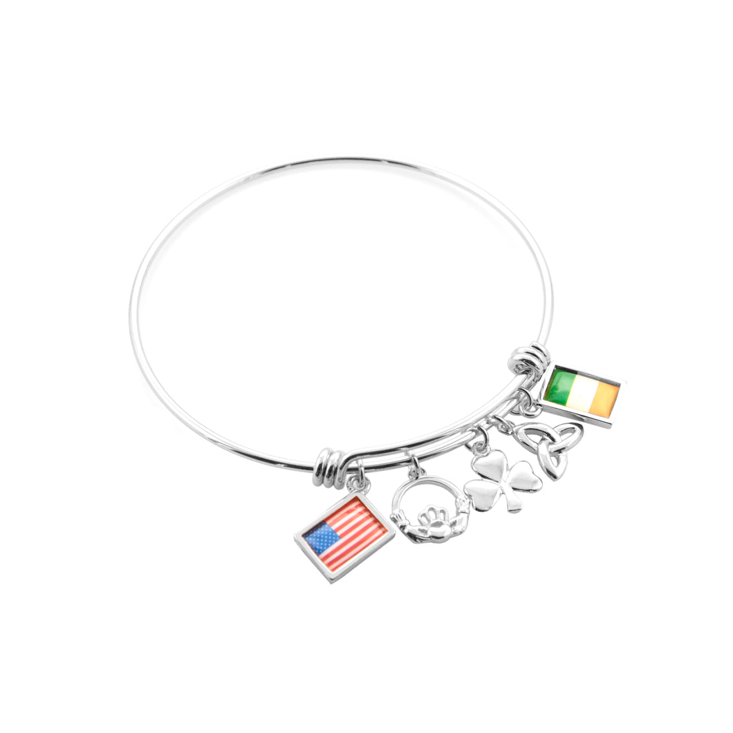 Silver Celtic USA & Ireland Flag Bangle