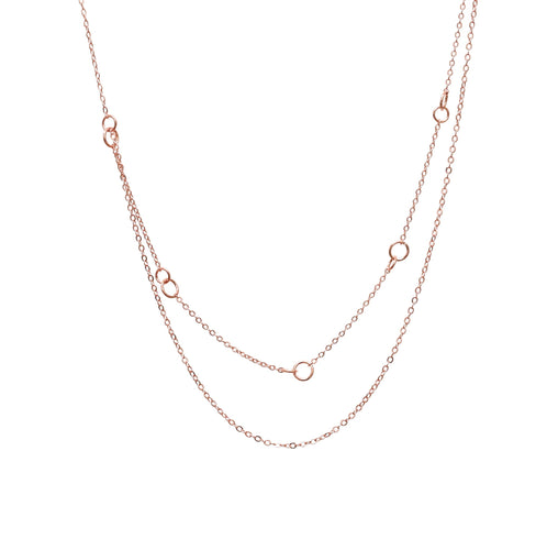 Rose Gold Layered Circle Chain Necklace
