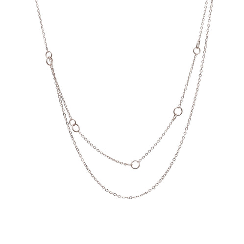 Silver Layered Circle Chain Necklace