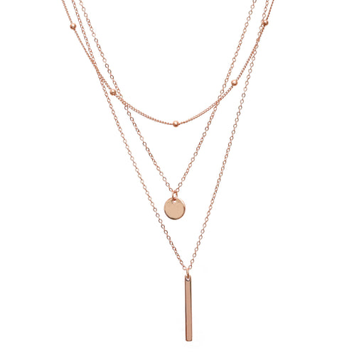 Three Layered Rose Gold Necklace with Disc and Bar
