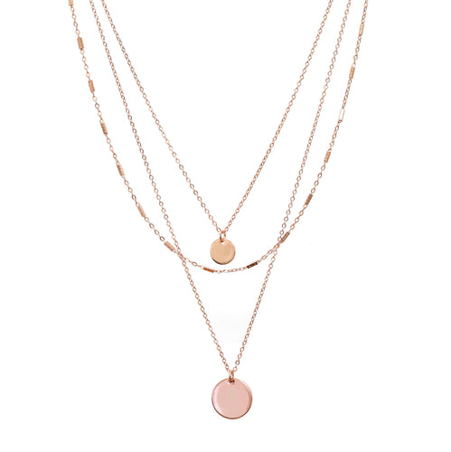 Three Layered Rose Gold Necklace with Discs