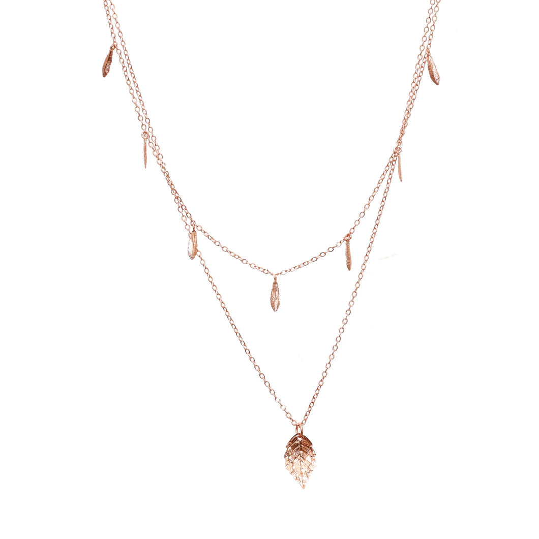 Layered Rose Gold Leaf and Feather Necklace