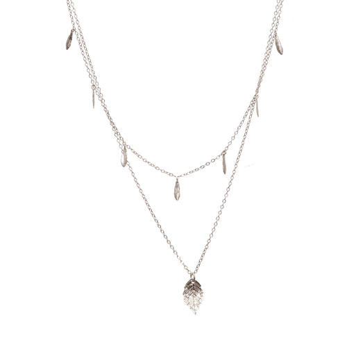 Layered Silver Leaf and Feather Necklace