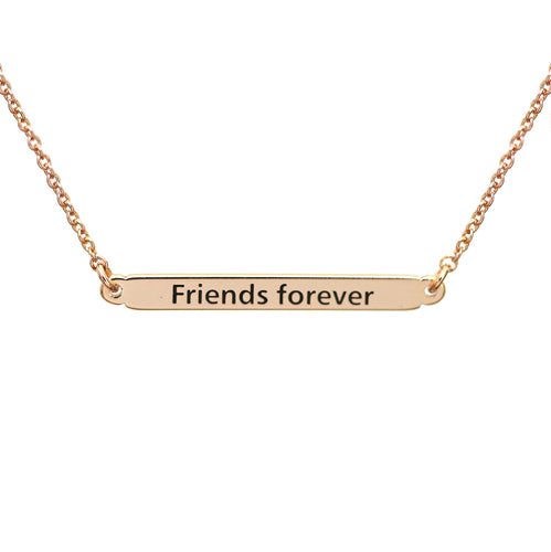 Rose Gold Friendship Bar Necklace
